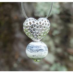 Pendentif Coeur argent et Perle en verre filé 3