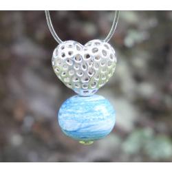 Pendentif Coeur argent et Perle en verre filé 4