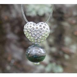 Pendentif Coeur argent et Perle en verre filé 5