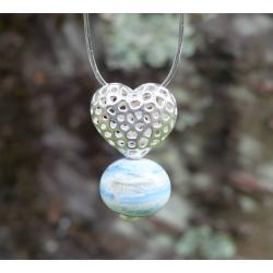 Pendentif Coeur argent et Perle en verre filé 6