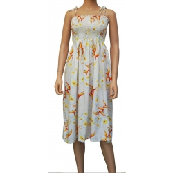 ROBE HAWAIENNE BIRD OF PLUMERIA crème