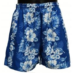 Short Hawaien FLEURI Bleu