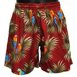 Short Hawaien RED PARROTS