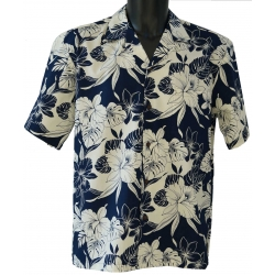 Chemise Hawaienne MONSTERA ORCHID NAVY