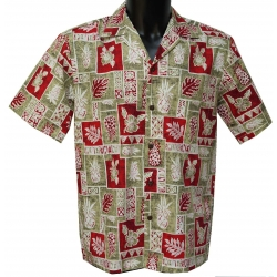 Chemise hawaienne PINEAPPLE BLOCK RED