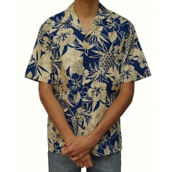 Chemise hawaienne PINEAPPLE GARDEN BLUE