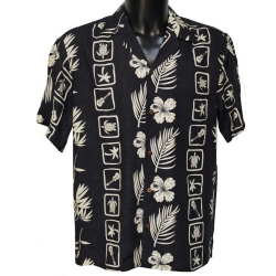 Chemise hawaienne SQUARES BLACK