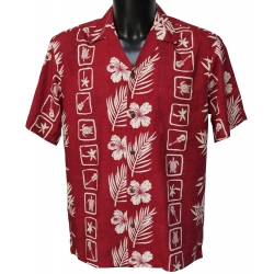 Chemise hawaienne SQUARES RED