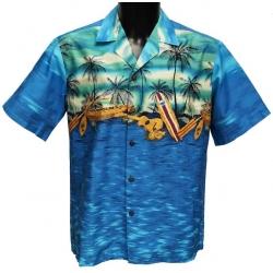 Chemise Hawaienne Sunset canoé bleue