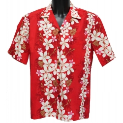 Chemise hawaienne VINTAGE PLUMERIA Rouge