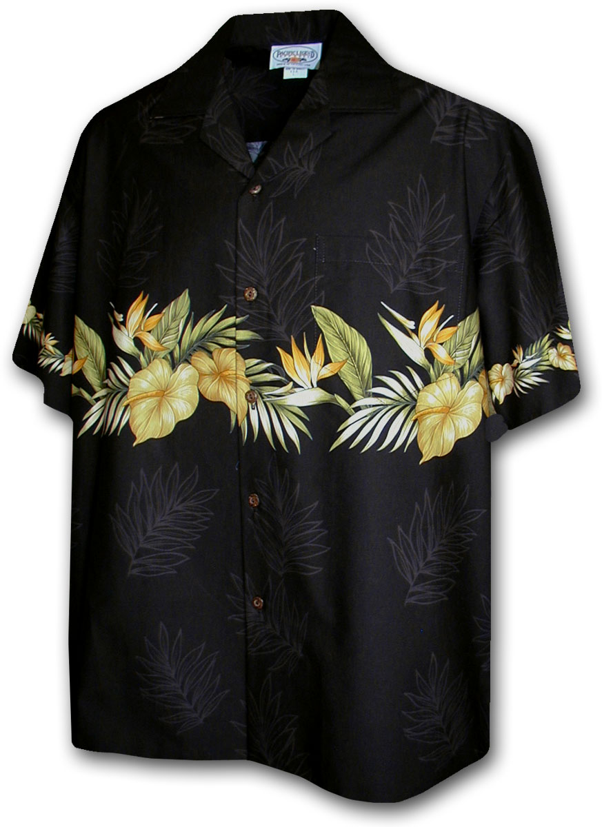 chemise hawaienne fleurs d 39 hawaii noire fleurs des. Black Bedroom Furniture Sets. Home Design Ideas
