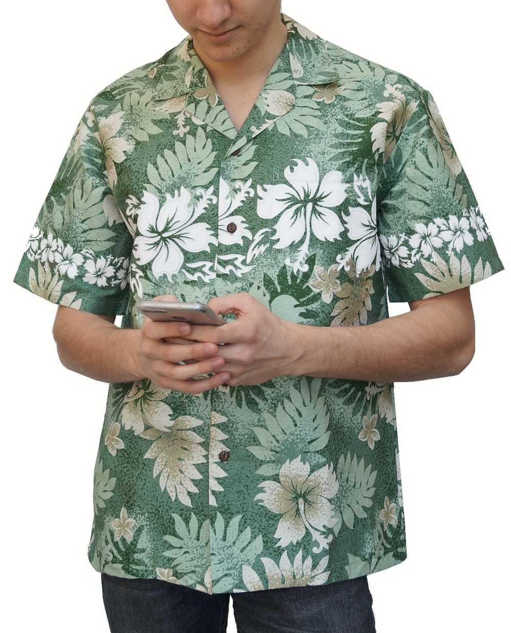 293278c2027 chemise hawaienne ... Hibiscus and fern vert. La chemise Hawaïenne à ...