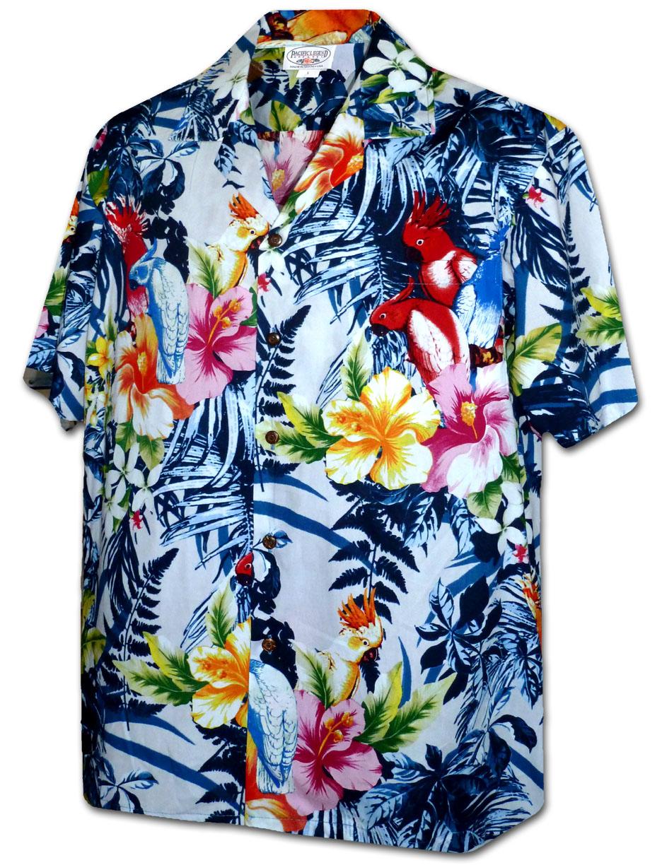 Chemise fleurie homme, retro, hawaienne. Chemise en viscose, imprimé à grosse fleur retro hawaienne. Doublure d'épaule en coton à pois rose pale. Doublure de patte de col et de manchette à rayure assortie. Bouton marbré vert. Passepoil rose à pois blanc. Livrée dans une pochette de tissu coordonné. Série limitée.