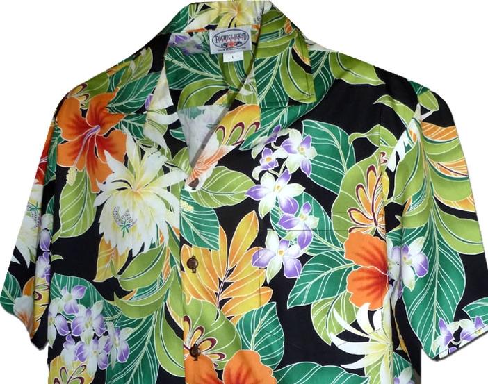 chemise hawaienne mauno lani noire fleurs des tropiques. Black Bedroom Furniture Sets. Home Design Ideas