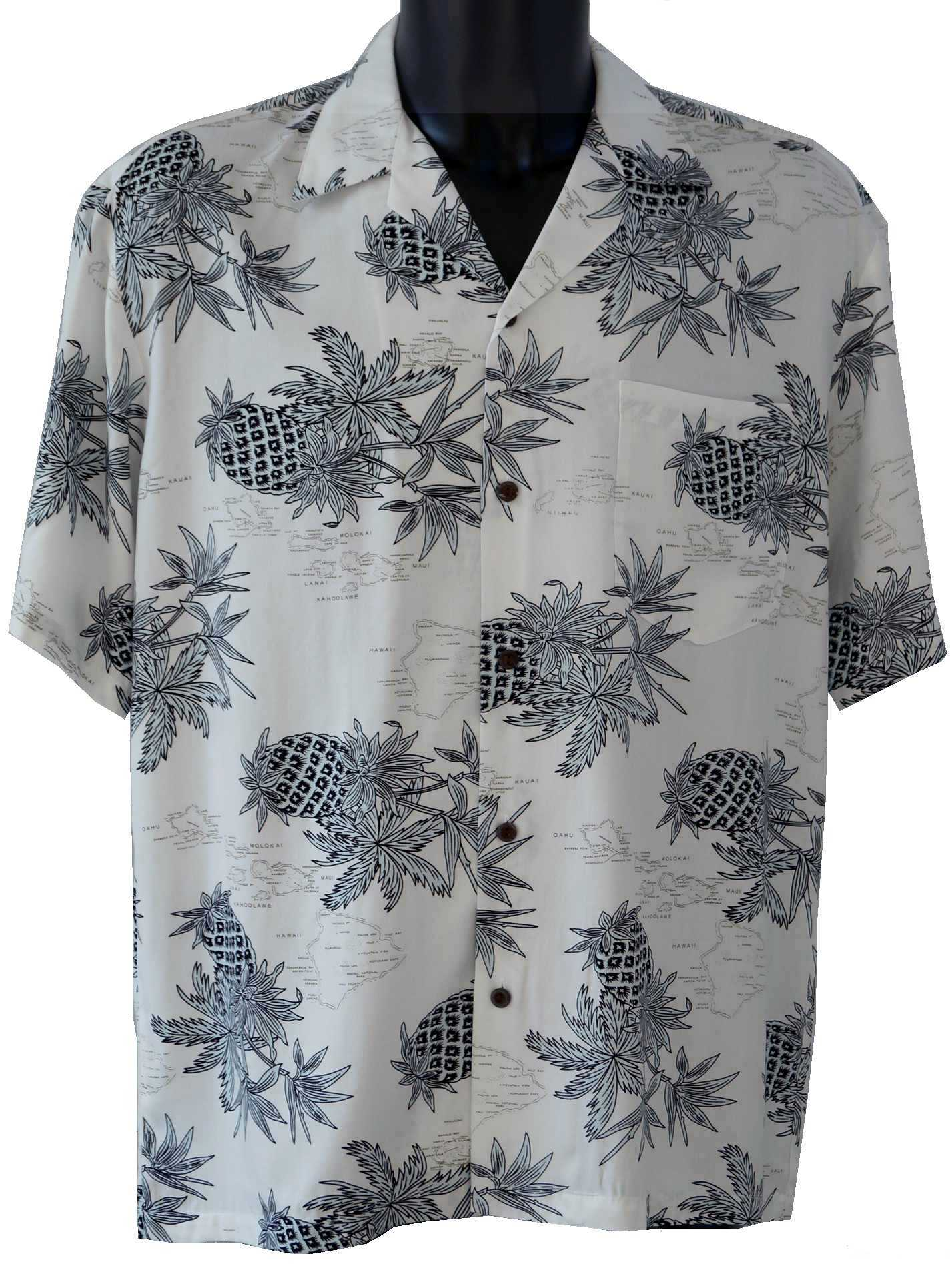 chemise hawaienne pineapple map white. Black Bedroom Furniture Sets. Home Design Ideas