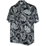 Chemise Hawaienne CHARCOAL LEAVES