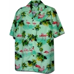 Chemise Hawaienne FLAMINGO IN GREEN