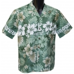 Chemise Hawaienne Hibiscus and Fern Green