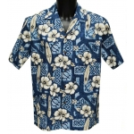 Chemise Hawaienne Hibiscus Surfs Blue