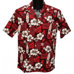 Chemise Hawaienne Hibiscus Surfs Red