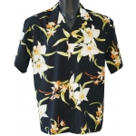 Chemise hawaienne ORCHID BLACK