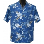 Chemise Hawaienne Orchid bleue