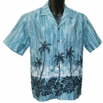 Chemise Hawaienne Palms Hawaiian Village Bleu