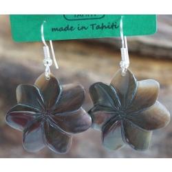 Boucles d'oreilles fleur de tiaré Nacre de Tahiti