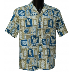 Chemise hawaienne PINEAPPLE BLOCK Kaki