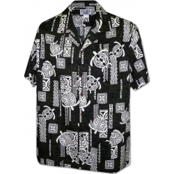 Chemise Hawaienne STYLIZED TURTLES BLACK